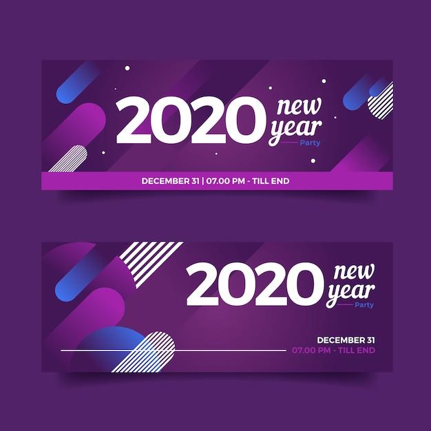 Conjunto de banners de fiesta de año nuevo 2020 de diseño plano vector gratuito