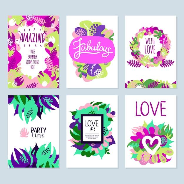 Conjunto de banners florales vector gratuito