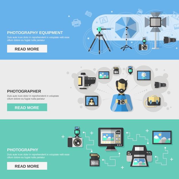 Conjunto de banners de fotografía vector gratuito