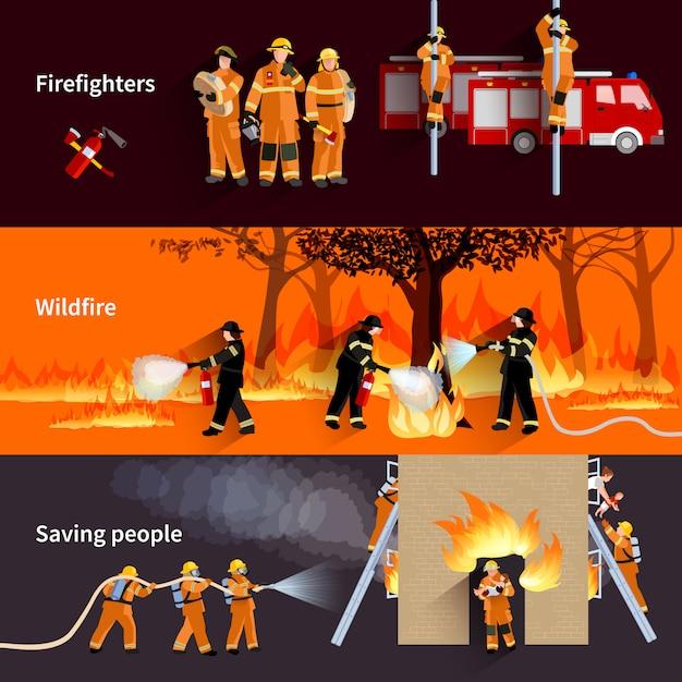 Conjunto de banners de gente horizontal bombero vector gratuito