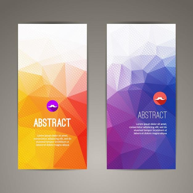 Conjunto de banners geométricos coloridos triangulares poligonales Vector Premium