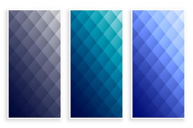 Conjunto de banners geométricos elegante patrón de diamante vector gratuito