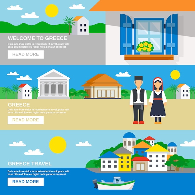 Conjunto de banners de grecia vector gratuito