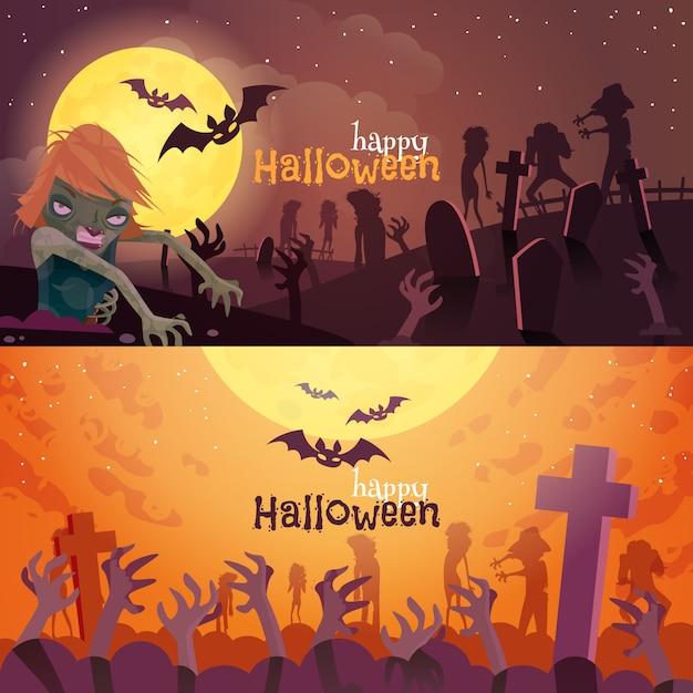 Conjunto de banners de halloween vector gratuito