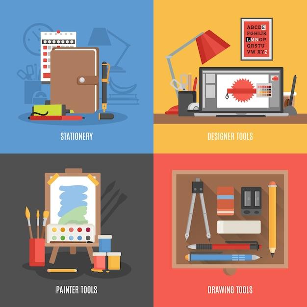 Conjunto de banners de herramientas de dibujo vector gratuito