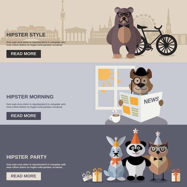 Conjunto de banners de hipster animal vector gratuito