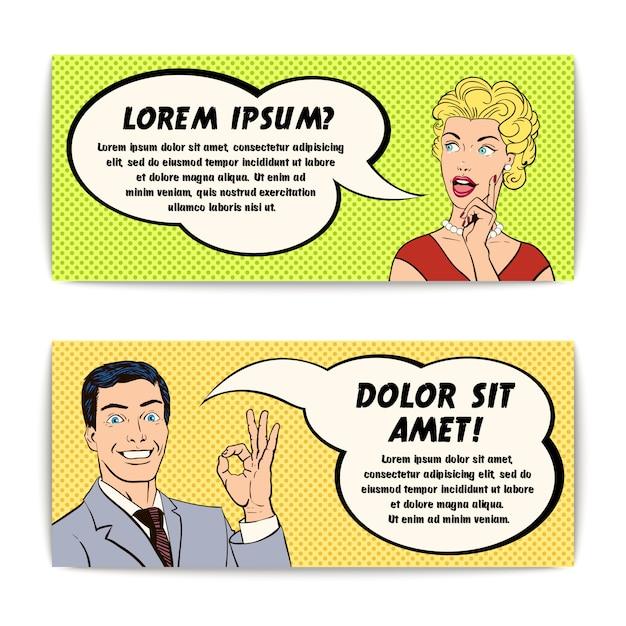 Conjunto de banners de hombre y mujer de cómic vector gratuito
