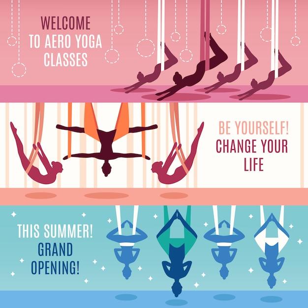 Conjunto de banners horizontales aero yoga vector gratuito