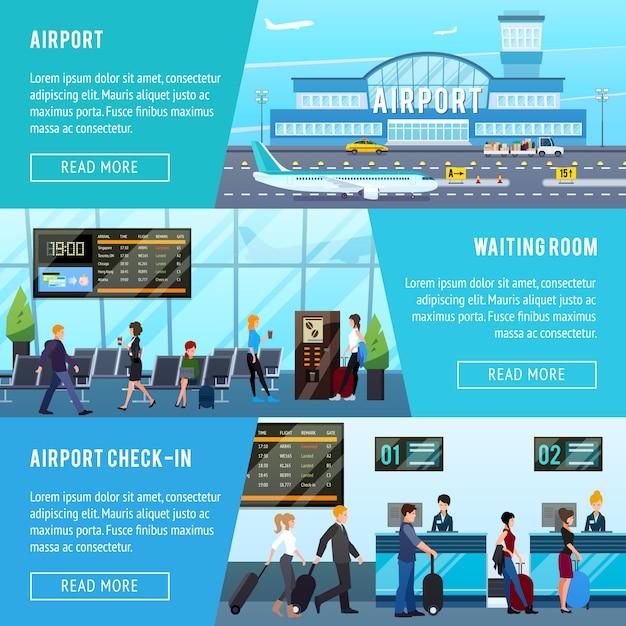 Conjunto de banners horizontales de aeropuerto vector gratuito