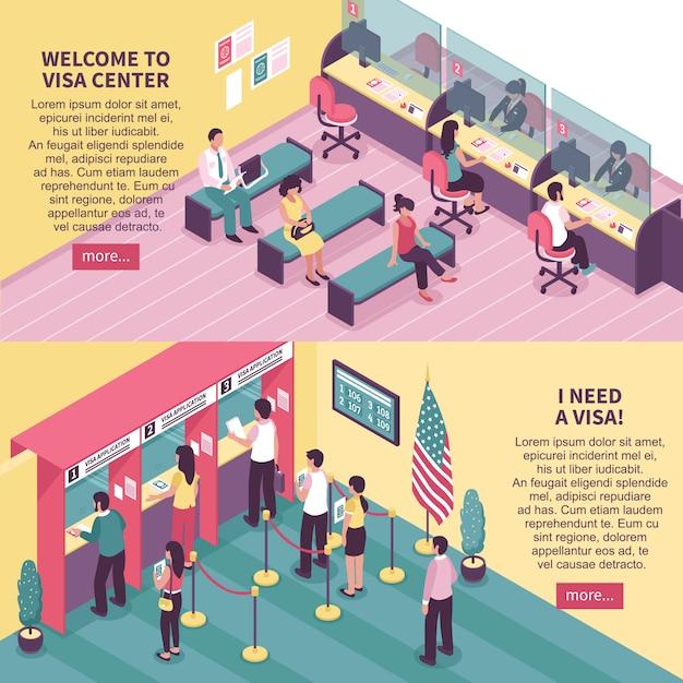 Conjunto de banners horizontales de centro de visa vector gratuito