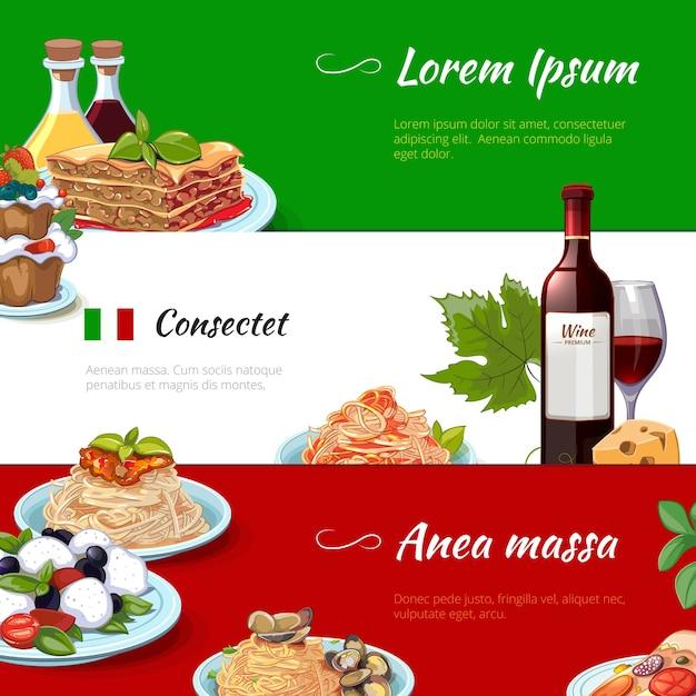 Conjunto de banners horizontales de comida italiana. cocina y pasta, italia, macarrones con queso de nutrición, cultura tradicional culinaria, ilustración vectorial vector gratuito