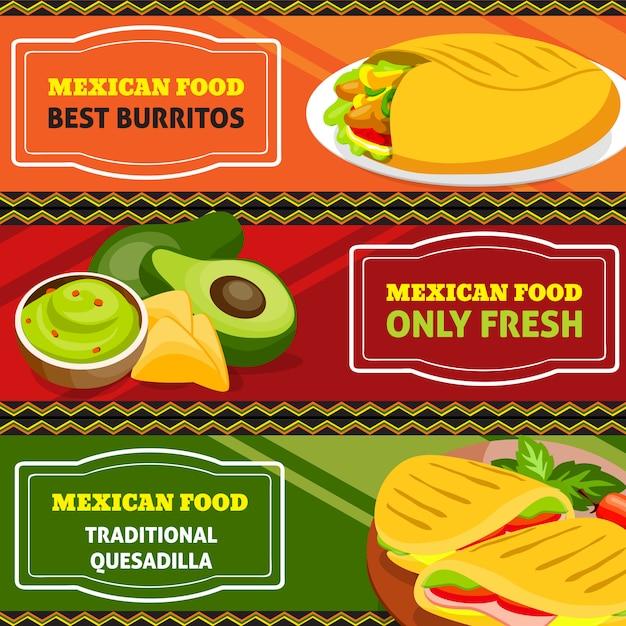Conjunto de banners horizontales de comida mexicana vector gratuito