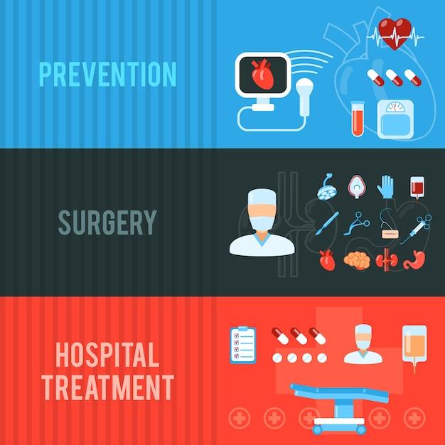 Conjunto de banners horizontales de concepto de cirugía vector gratuito