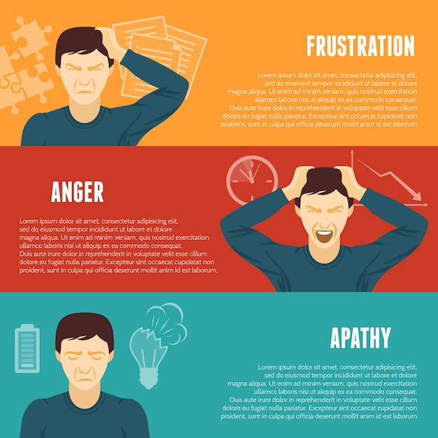 Conjunto de banners horizontales de concepto de estrés vector gratuito