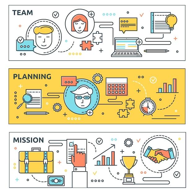 Conjunto de banners horizontales de coworking vector gratuito