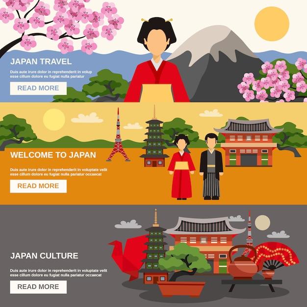 Conjunto de banners horizontales de cultura japonesa vector gratuito