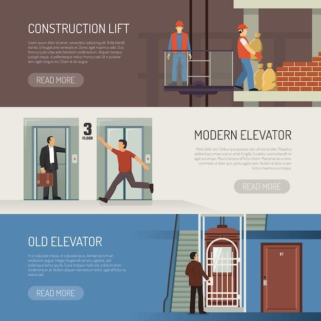 Conjunto de banners horizontales de elevador vector gratuito