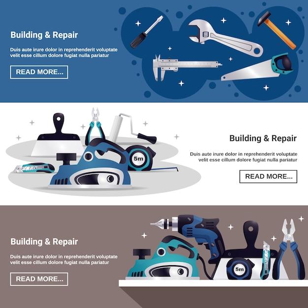 Conjunto de banners horizontales de herramientas de construcción vector gratuito