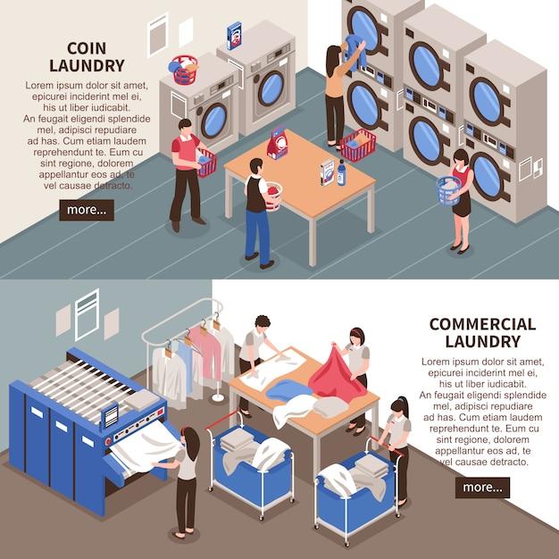 Conjunto de banners horizontales de lavandería vector gratuito
