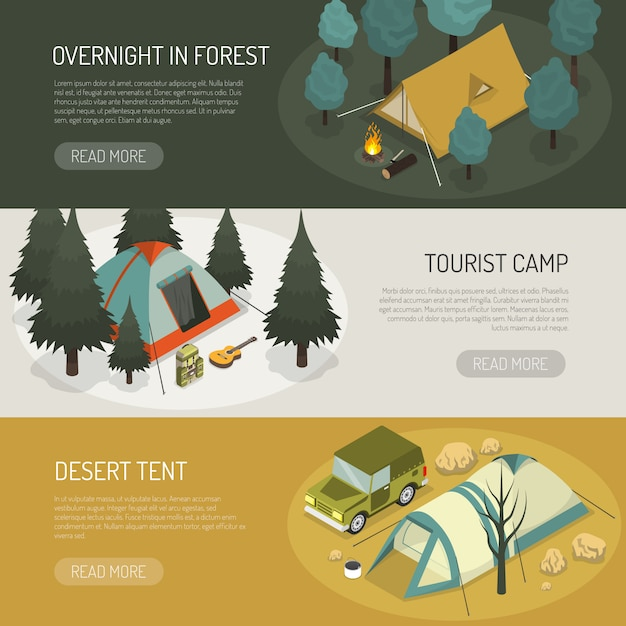 Conjunto de banners horizontales de opciones de carpas de camping vector gratuito