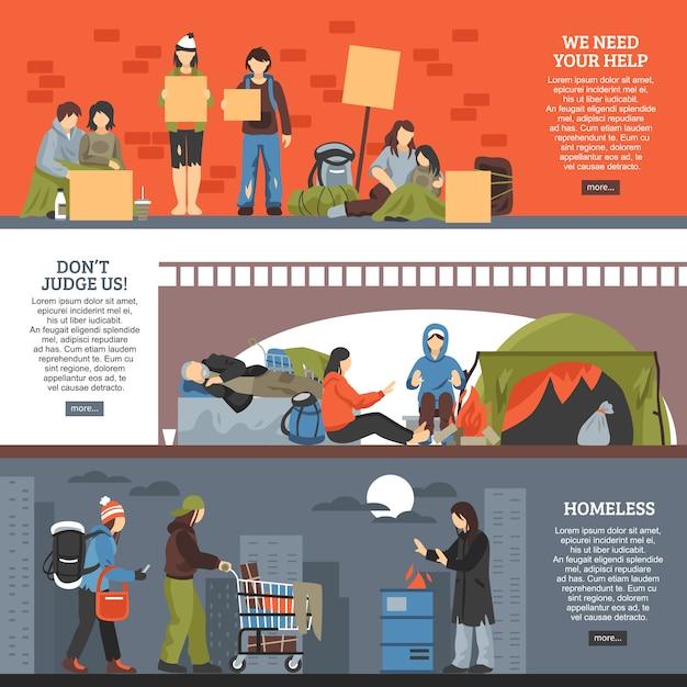 Conjunto de banners horizontales para personas sin hogar vector gratuito