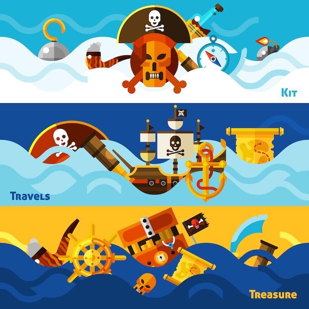 Conjunto de banners horizontales piratas vector gratuito