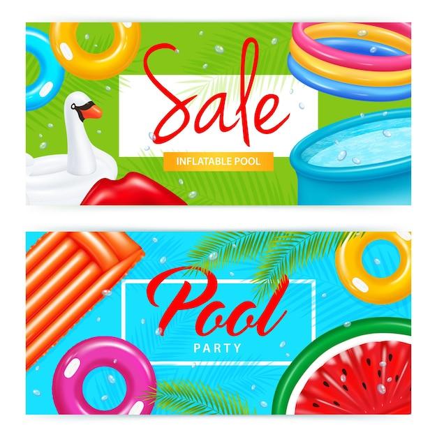 Conjunto de banners horizontales piscina inflable realista y coloridos equipos de natación de varias formas aisladas vector gratuito