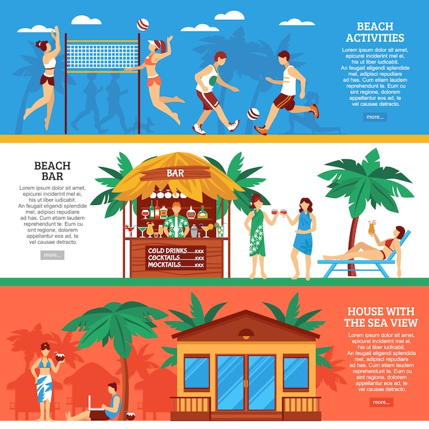 Conjunto de banners horizontales de playa vector gratuito