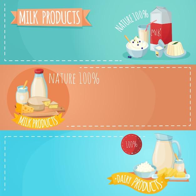Conjunto de banners horizontales de productos lácteos vector gratuito