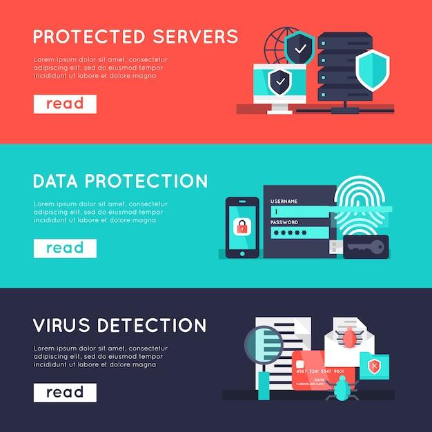 Conjunto de banners horizontales de protección de datos vector gratuito