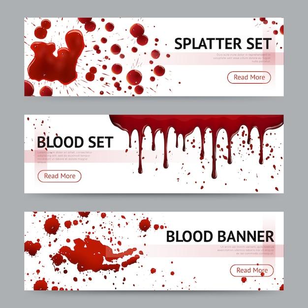 Conjunto de banners horizontales de salpicaduras de sangre vector gratuito