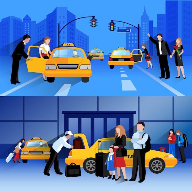 Conjunto de banners horizontales de servicio de taxi. vector gratuito