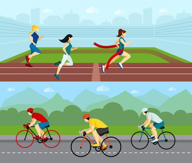 Conjunto de banners horizontales sport de personas vector gratuito