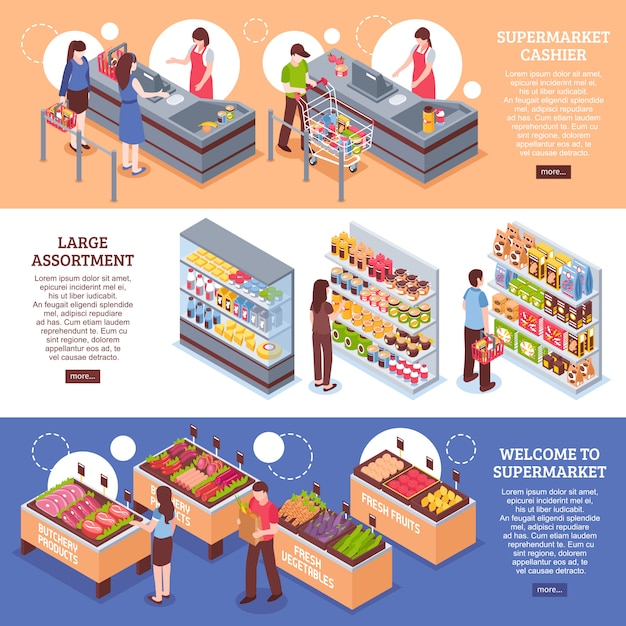 Conjunto de banners horizontales de supermercado vector gratuito