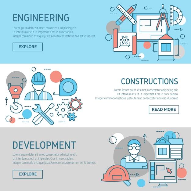 Conjunto de banners de ingeniería y construcciones vector gratuito