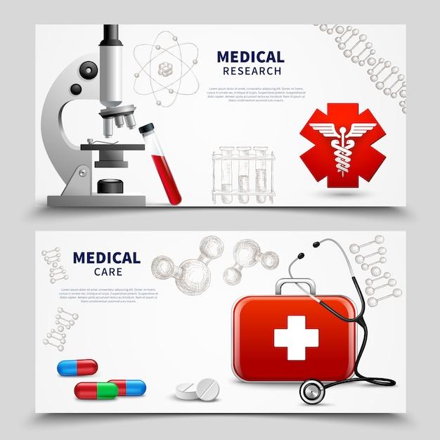 Conjunto de banners de investigación médica vector gratuito