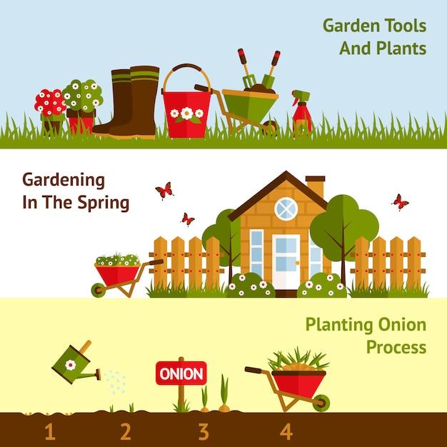 Conjunto de banners de jardinería vector gratuito