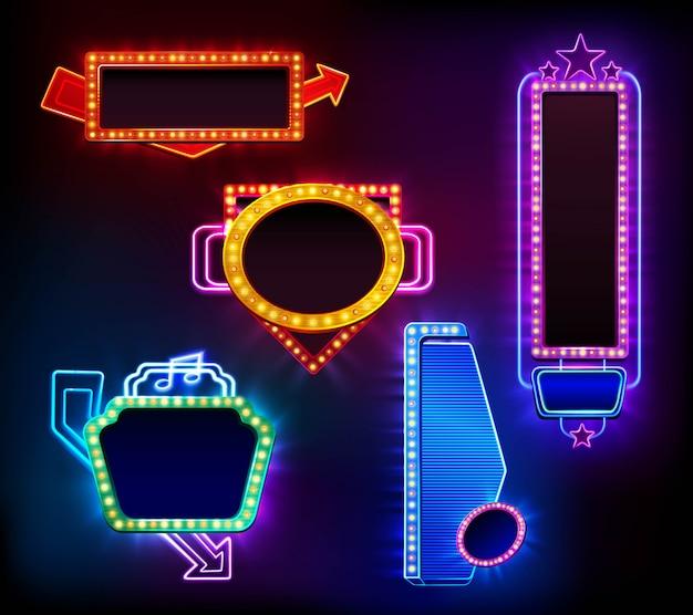 Conjunto de banners de luz retro vector gratuito