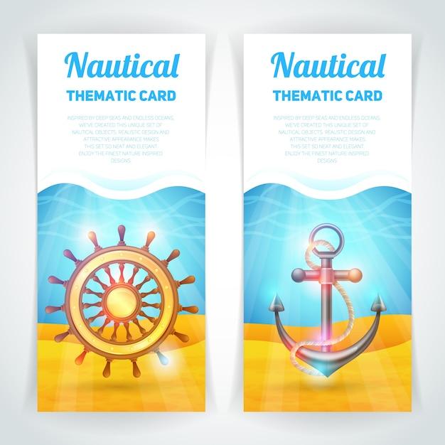 Conjunto de banners marinos vector gratuito