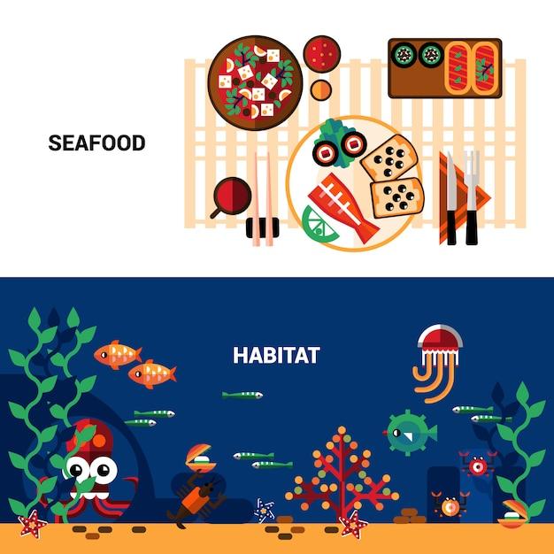 Conjunto de banners de mariscos horizontales vector gratuito