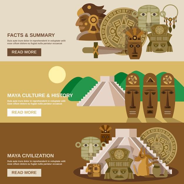 Conjunto de banners mayas vector gratuito
