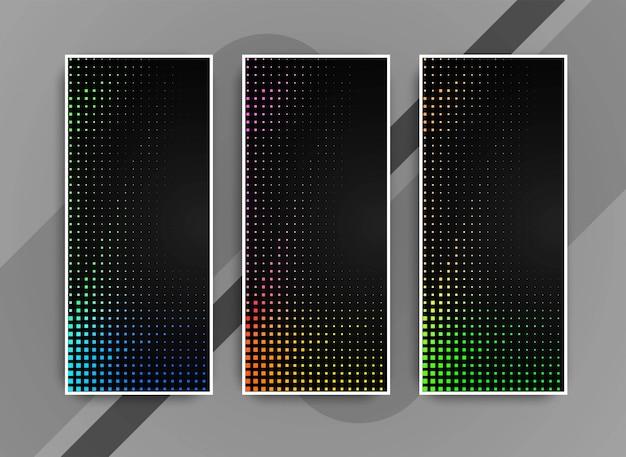 Conjunto de banners moderno colorido brillante abstracto vector gratuito