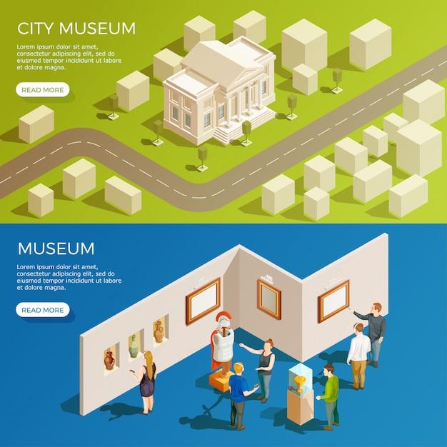 Conjunto de banners del museo urbano vector gratuito