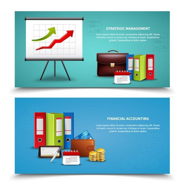 Conjunto de banners de negocios realistas vector gratuito