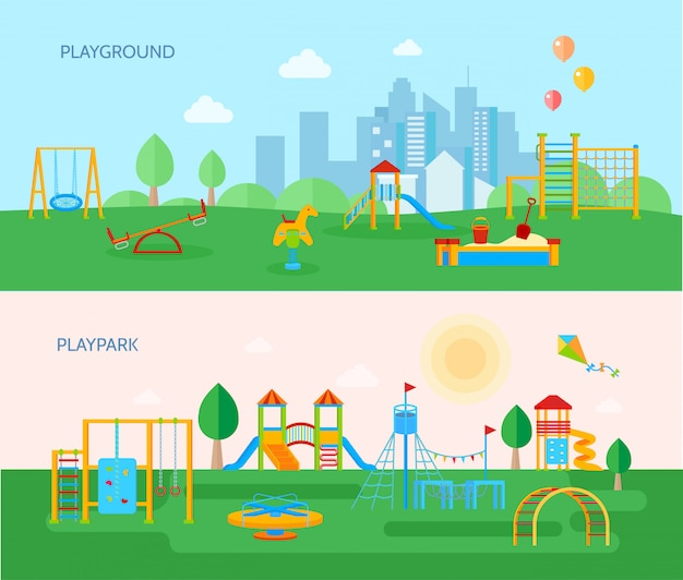 Conjunto de banners de parque infantil vector gratuito