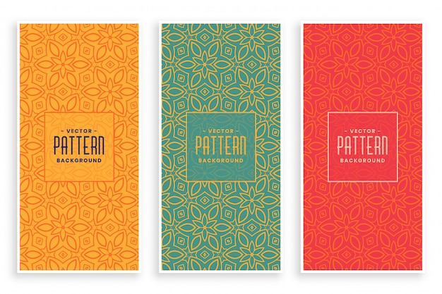 Conjunto de banners de patrón floral abstracto retro vector gratuito