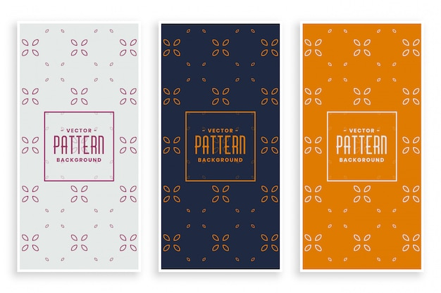 Conjunto de banners de patrón floral elegante hermoso vector gratuito