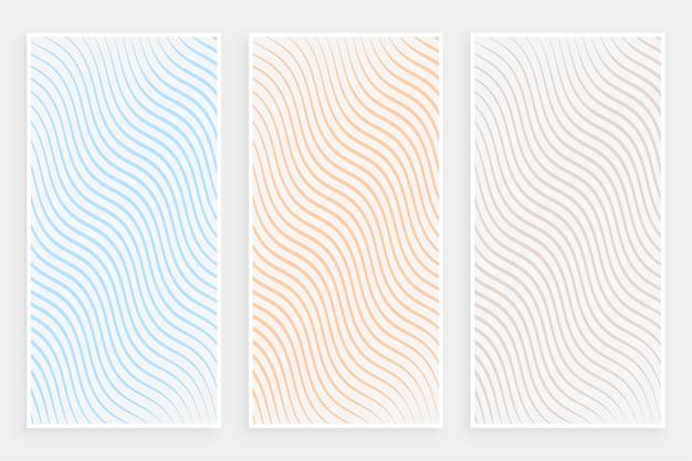 Conjunto de banners de patrón de líneas fluidas curvas minimalistas sutiles vector gratuito
