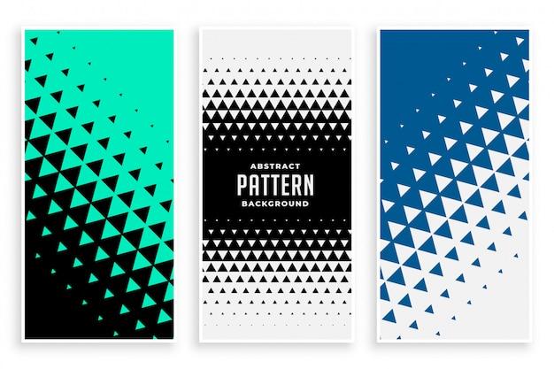 Conjunto de banners de patrón triángulo abstracto vector gratuito
