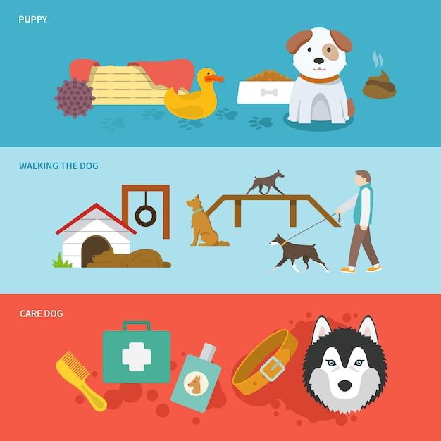 Conjunto de banners de perro vector gratuito